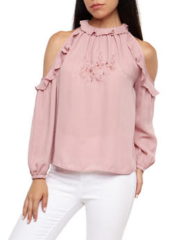 Embroidered Ruffle Cold Shoulder Top - 3001051069303