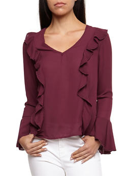 Ruffled Blouse with Bell Sleeves - 3001051069381