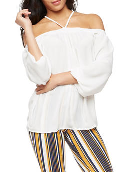 Off the Shoulder Long Sleeve Top - IVORY - 3001051069382