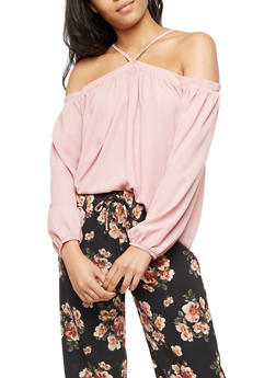 Off the Shoulder Long Sleeve Top - 3001051069382