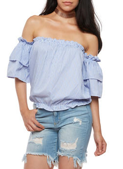 Off the Shoulder Striped Bubble Top - 3001051069415