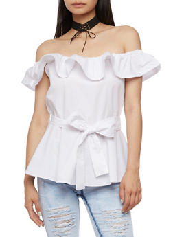 Off the Shoulder Ruffle Peplum Top with Tie Waist - WHITE - 3001051069417