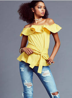 Off the Shoulder Ruffle Peplum Top with Tie Waist - 3001051069417