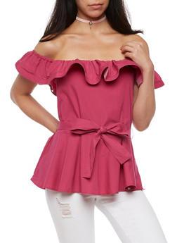 Off the Shoulder Ruffle Peplum Top with Tie Waist - 3001051069417
