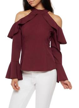 Bell Sleeve Cold Shoulder Top - 3001051069427