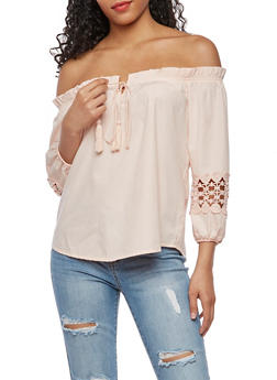 Off the Shoulder Top with Crochet Inserts - 3001051069429
