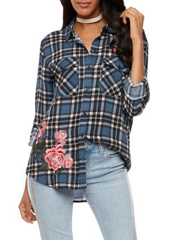 Floral Embroidered Button Front Plaid Top - MAUVE COMBO - 3001051069448