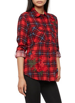 Floral Embroidered Button Front Plaid Top - 3001051069448