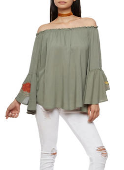Embroidered Bell Sleeve Peasant Top - 3001051069450