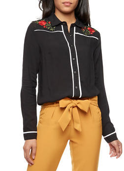 Floral Embroidered Button Front Top - BLACK/WHITE - 3001051069456