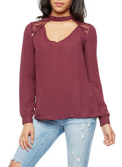 Laced Choker Neck Blouse - 3001051069473