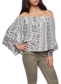 Off the Shoulder Bell Sleeve Printed Top - 3001051069475
