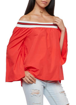 Off the Shoulder Striped Band Top - 3001051069486