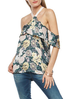 Satin Floral Cold Shoulder Top - 3001051069492