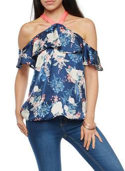 Satin Floral Cold Shoulder Top - 3001051069492