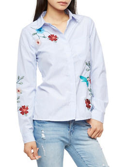 Flower Embroidered Button Front Shirt - 3001051069498