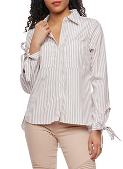 Tie Sleeve Striped Button Down Shirt - 3001051069499