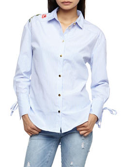 Embroidered Tie Sleeve Button Front Shirt - 3001051069506