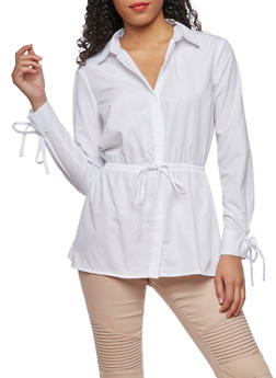 Long Sleeve Button Down Shirt with Cinched Waist - WHITE - 3001051069515