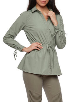 Long Sleeve Button Down Shirt with Cinched Waist - 3001051069515
