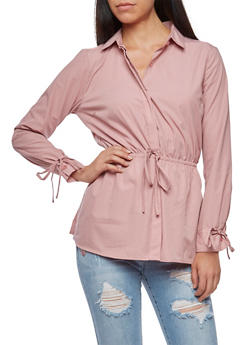 Long Sleeve Button Down Shirt with Cinched Waist - MAUVE - 3001051069515