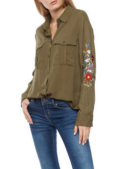 Floral Embroidered Button Front Shirt - OLIVE - 3001051069521