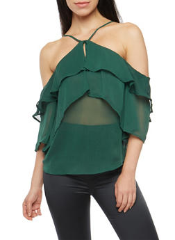 Tiered Cold Shoulder Top - 3001051069523
