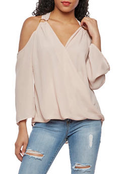 Twisted Hem Cold Shoulder Top - BLUSH - 3001051069529