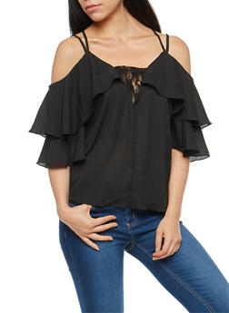 Cold Shoulder Cross Back Top - 3001051069532