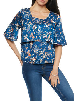 Floral Ruffle Front Top - 3001051069537