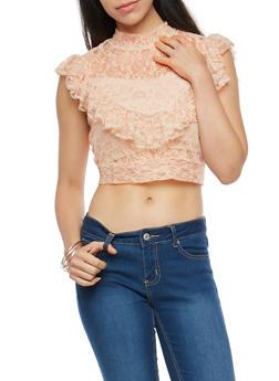 Lace Open Back Ruffled Crop Top - BLUSH - 3001051069545