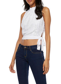 Sleeveless Lace Crop Top with Tie Sash - 3001051069546