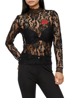 Long Sleeve Lace Top with Rose Patch - BLACK - 3001051069547