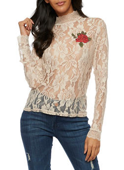 Long Sleeve Lace Top with Rose Patch - 3001051069547