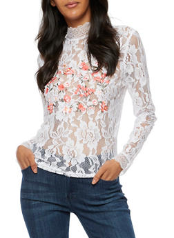 Long Sleeve Lace Top with Floral Embroidery - WHITE - 3001051069548