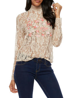 Long Sleeve Lace Top with Floral Embroidery - NUDE - 3001051069548