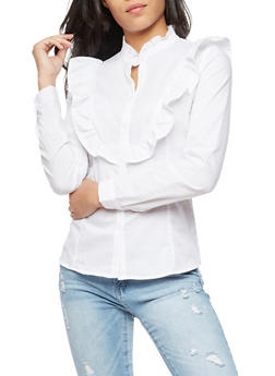 Long Sleeve Ruffled Button Front Blouse - 3001051069552