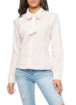 Long Sleeve Big Bow Collar Blouse - 3001051069553