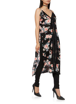 Sleeveless Floral Maxi Top with Crochet Trim - 3001051069554