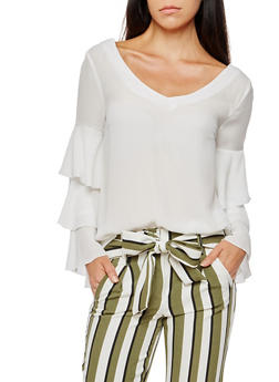 Ruffled Sleeve Blouse with Criss Cross Back - OFF WHITE - 3001051069702