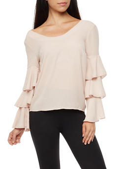 Ruffled Sleeve Blouse with Criss Cross Back - 3001051069702