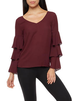 Ruffled Sleeve Blouse with Criss Cross Back - BURGUNDY - 3001051069702