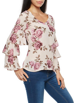 Floral Chiffon Caged Back Tiered Sleeve Top - 3001051069703