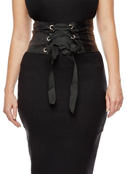 Faux Leather Corset Waist Belt - 3001051069722