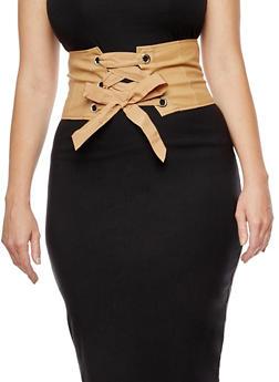 Faux Leather Corset Waist Belt - 3001051069722
