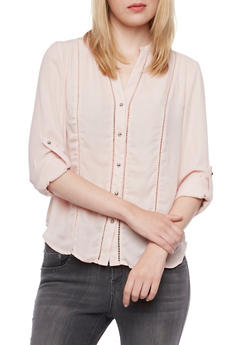 Sheer Mandarin Collar Blouse with Eyelet Trim - 3001051069736
