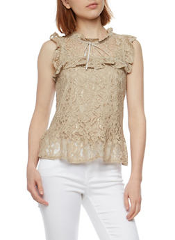 Sleeveless Lace Top with Flounce Hem - 3001054265854