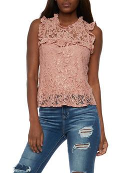 Sleeveless Lace Top with Flounce Hem - 3001054265854