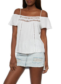 Cold Shoulder Gauze Knit Top with Crochet Inserts - 3001054265863