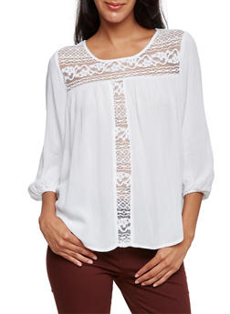 Ruched Top with Crochet Paneling - 3001054268649